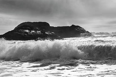 Splashing In The Tide Photograph - Waves Rolling Into Shore  Tofino by Keith Levit
