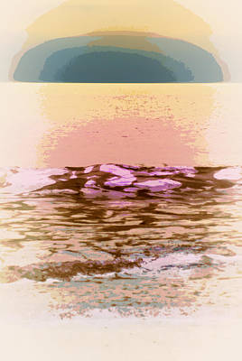 Abstract Beach Landscape Digital Art - Waves With Sunset by Laurie Pike