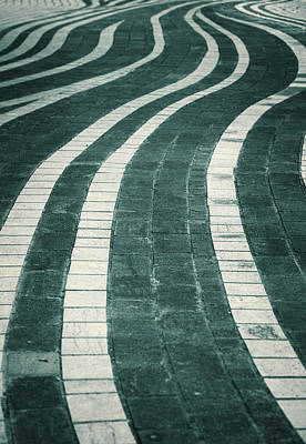 Pathway Digital Art - Wavy Stone Path - Abstract Photography by Modern Art Prints