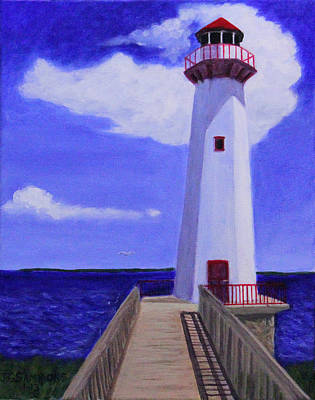 Art Print featuring the painting Wawatam Lighthouse by Janet Greer Sammons