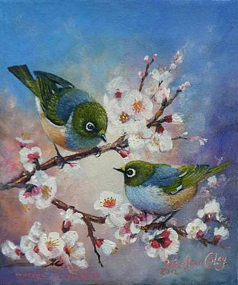 Wax Eyes On Blossom Art Print by Peter Jean Caley
