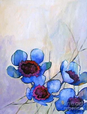 Wax Flowers Blue Art Print by Wendy Westlake