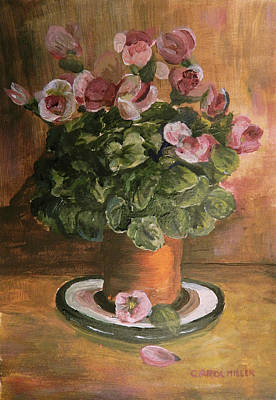 Painting - Wax Flowers On Display by Carol L Miller
