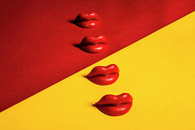 Photograph - Waxed Lips Against Yellow And Red by Naila Ruechel