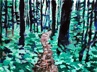 Target Threshold Watercolor - Way Through the Woods by Paul Sutcliffe