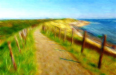 Sand Fences Painting - Way To The Beach by Steve K