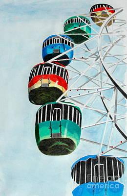 Ferris Wheel Drawing - Way Up In The Sky by Glenda Zuckerman