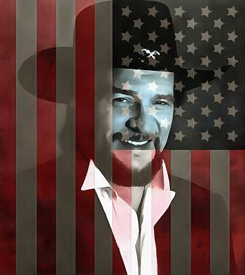 Hall Of Fame Digital Art - Waylon Jennings American Outlaw by Dan Sproul