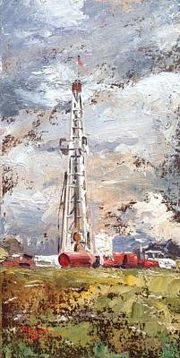 Oil Rig Painting - Wayne County Rig by Spencer Meagher