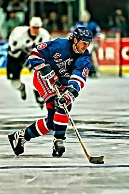 New York Rangers Painting - Wayne Gretzky Skating by Florian Rodarte