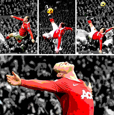 Athletes Photograph - Wayne Rooney Overhead Kick Vs Manchester City by Pro Prints