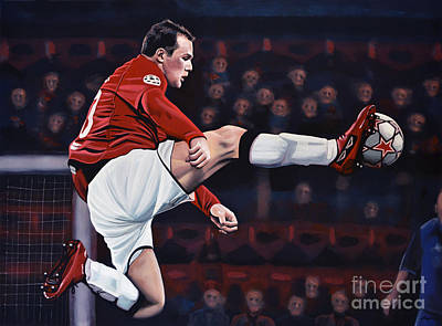 Soccer Painting - Wayne Rooney by Paul Meijering