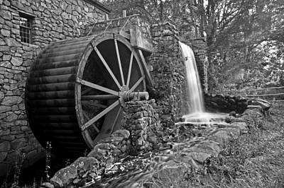 Wayside Inn Grist Mill Black And White Art Print
