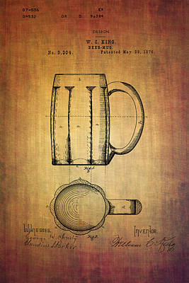Ale Mixed Media - W.c.king Beer Mug Patent From 1876 by Eti Reid