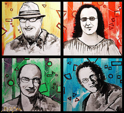 Austin Artist Mixed Media - Wd-41 Jazz Band Members by Miko At The Love Art Shop