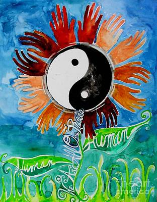 Eco-art Painting - We Are All One Race Human by Genevieve Esson