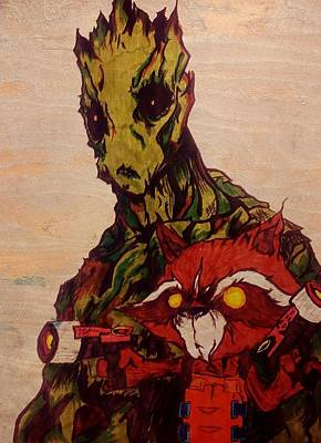Raccoon Mixed Media - We Are Groot  by Leighann Taylor