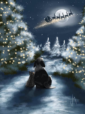 Snowy Night Painting - We Are So Good by Veronica Minozzi