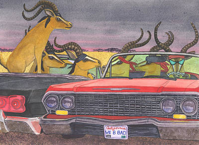 Low Rider Painting - We Be Bad by Catherine G McElroy