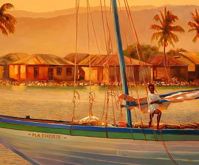 Haitian Painting - We Be Sailing by Sue  Darius