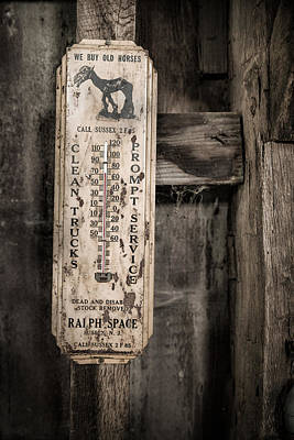 Photograph - We Buy Old Horses - Vintage Thermometer by Gary Heller