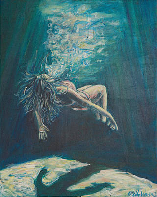 Floating Girl Painting - We Cease To See by Erik Warn
