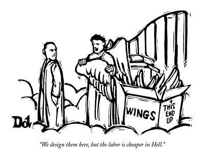 Heaven Drawing - We Design Them Here by Drew Dernavich