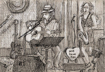 Musicians Drawings - We Love Tips by Arthur Barnes