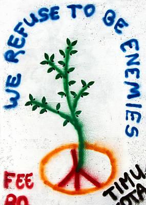 Separation Drawing - We Refuse To Be Enemies by Munir Alawi