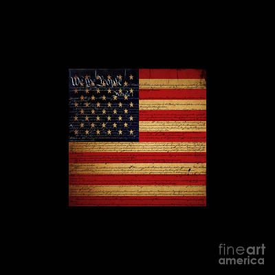 We The People - The Us Constitution With Flag - Square Black Border Print by Wingsdomain Art and Photography