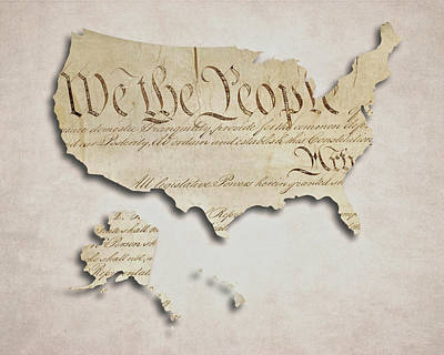 Democracy Digital Art - We The People - Us Constitution Map by World Art Prints And Designs