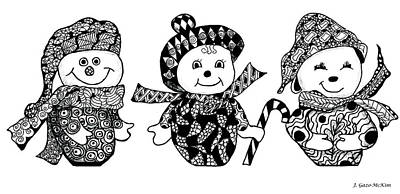 Snowwoman Drawing - We Three Glee by Jo-Anne Gazo-McKim