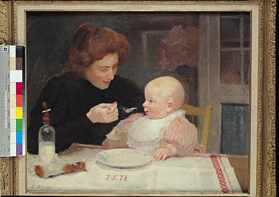 Caring Mother Photograph - Weaning Oil On Canvas by Jules Ernest Renoux