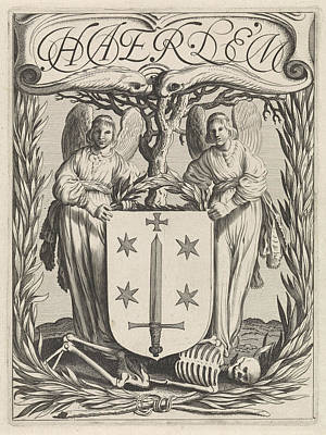 Human Skeleton Drawing - Weapon Of Haarlem With Two Angels, The Netherlands by Jan Van De Velde (ii)