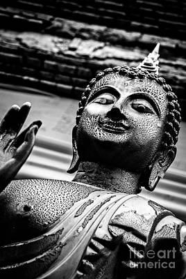 Wear-and-tear Buddha - Black And White Art Print by Dean Harte