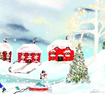 Art Print featuring the painting Wear Those Hats And Mittens by Lori  Lovetere