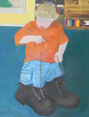 Painting - Wearing Daddy's Boots by Ernie Goldberg
