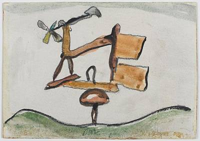 Cardboard Drawing - Weather Vane by Arthur Dove