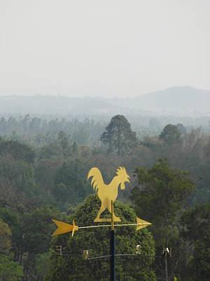 Gold Weathervane Photograph - Weather Vane Mountain View by Ian Scholan