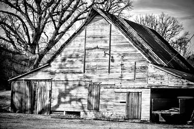 Photograph - Weathered Barn Black And White - Photography by Ann Powell