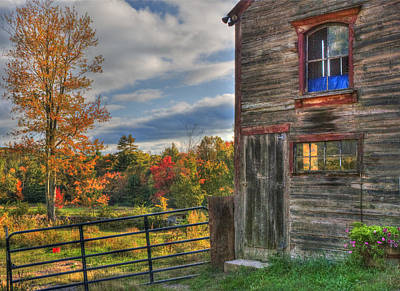 Weathered Barn In Autumn Art Print by Joann Vitali