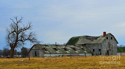 Indiana Photograph - Weathered Barns by Alys Caviness-Gober