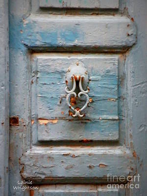 Weathered Blue Door Art Print by Lainie Wrightson