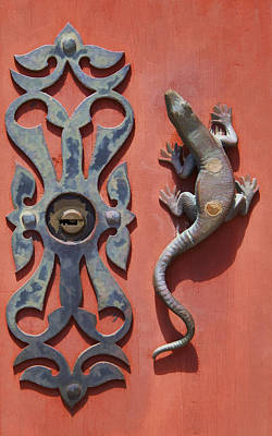 Medieval Village Photograph - Weathered Brass Door Handle Of Medieval Europe by David Letts