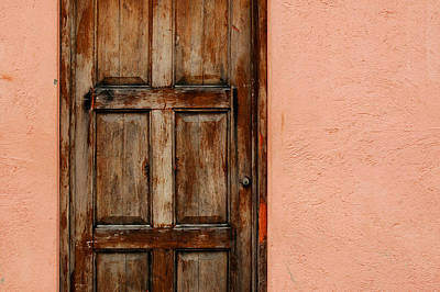 Photograph - Weathered Door On Peach Stucco by Rob Huntley