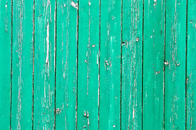 Weathered Green Wood Art Print by Tom Gowanlock