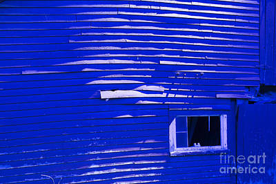 Photograph - Weathered Old Blue Barn At Night by Don Landwehrle