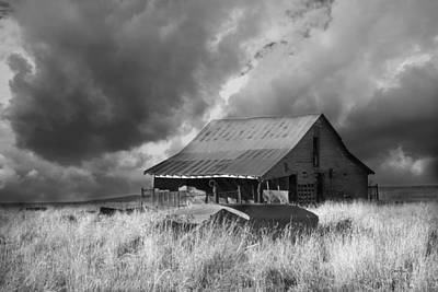 Photograph - Weathered On The Prairie - Black And White Photography by Ann Powell