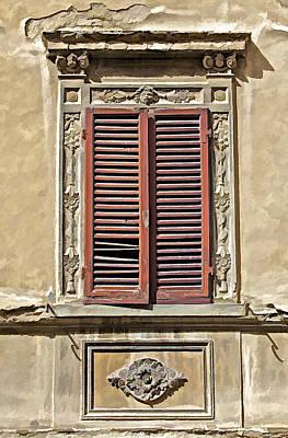 Weathered Red Wood Window Shutters Of Tuscany II Art Print by David Letts