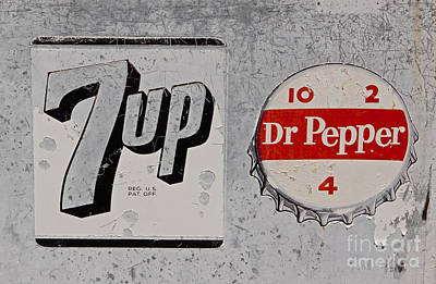 Seven-up Sign Photograph - Weathered Soft Drink Signs   #0999 by J L Woody Wooden